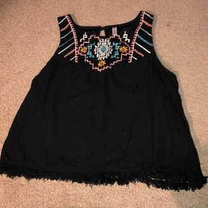 Black tank with neon embroidery
